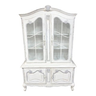 Vintage French Provincial Style China Display Cabinet For Sale