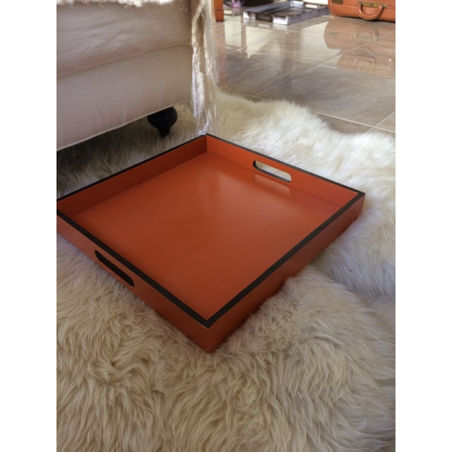 Not Yet Made - Made To Order Mid-Century Modern Hermès Inspired Orange Lacquer Tray For Sale - Image 5 of 11