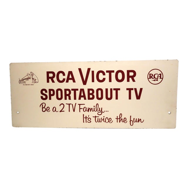 Rca Portable Tv Advertising Sign Circa Mid-20th Century Brown Over Beige on Wood For Sale