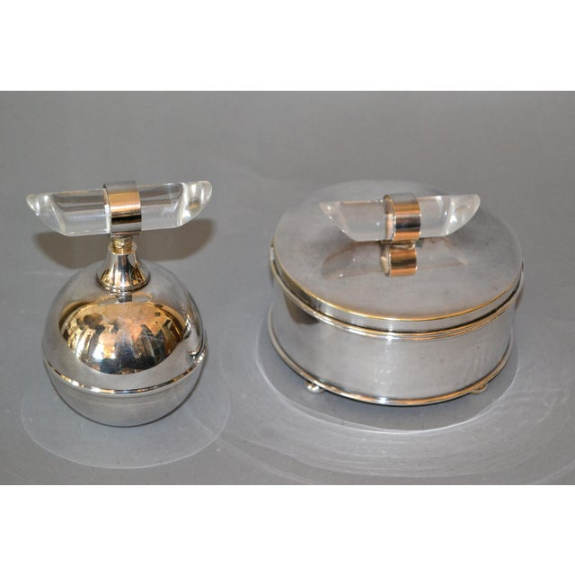Mid-Century Modern Silver Plate & Lucite Perfume Bottle & Powder Box 2 Pc. Vanity Set For Sale - Image 12 of 13