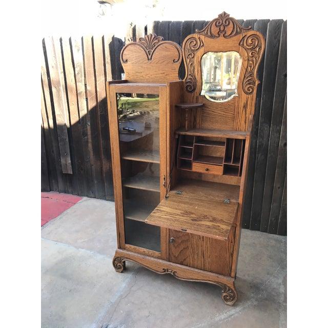 Antique Secretary Writing Desk Cabinet For Sale - Image 4 of 7