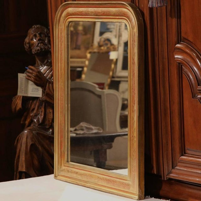 Decorate a powder room or bedroom with this Classic, small antique mirror. Crafted in the Burgundy region of France, circa...