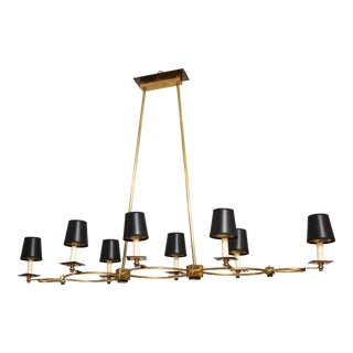 Custom Brass and Bronze Eight-Arm Fixture in the Midcentury Manner For Sale