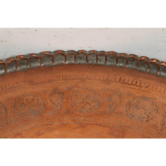 Large Persian Qajar Copper Tray For Sale - Image 4 of 8