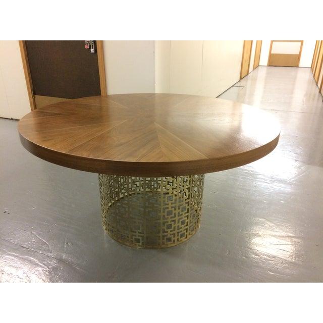 Jonathan Adler Jonathan Adler Walnut Table With Brass Base For Sale - Image 4 of 5