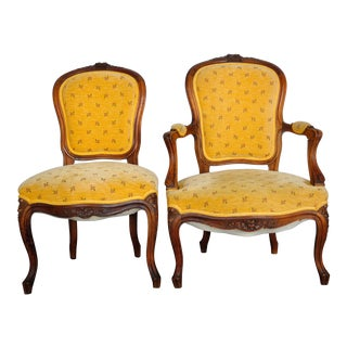 1940's Pair of Traditional His and Hers French Louis XVI Oak Armchair and Side Chair W/ Yellow Velvet Upholstery For Sale