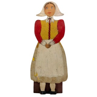 Folk Art Dutch Woman Hand-Painted Wooden Doorstop For Sale