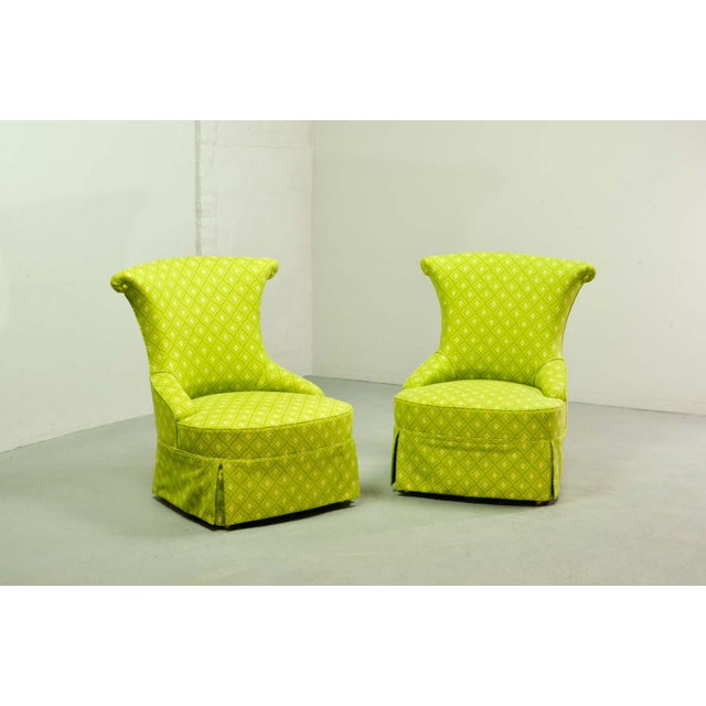 Fine pair of French Design Napoleon III Style Lime Green Boudoir / Slipper Chairs, 1900s For Sale - Image 12 of 12