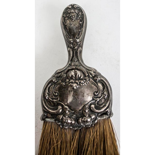 Gothic Art Nouveau Sterling Silver Whisk Table Crumb Brush For Sale - Image 3 of 6