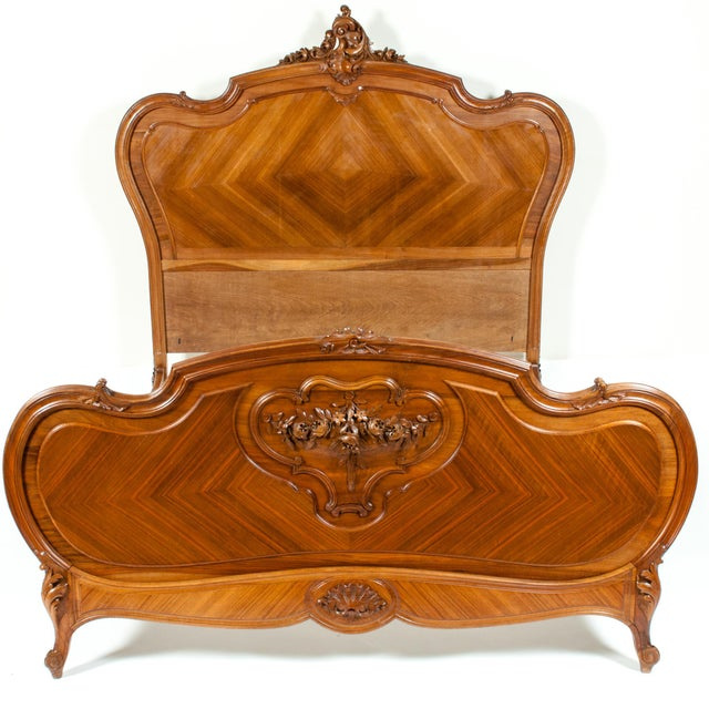 Late 19th Century French Burl Walnut Bed For Sale - Image 11 of 13
