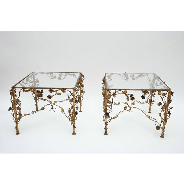 Hollywood Regency Hollywood Regency Gold and Glass Side Tables, 1950s, Usa For Sale - Image 3 of 10