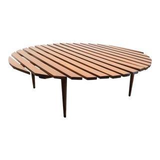 "Mid-Century Modern Large 48"" Round Slat Wood Coffee Table For Sale"