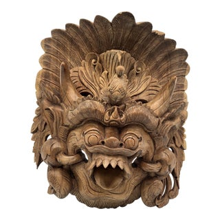 Mid 20th Century Hand Carved Wooden Hanging Asian Figure /Mask For Sale