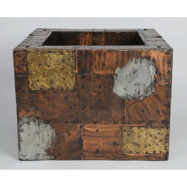 Brass PAUL EVANS PEWTER, BRASS AND COPPER PATCHWORK COCKTAIL TABLE, CIRCA 1970S For Sale - Image 7 of 7