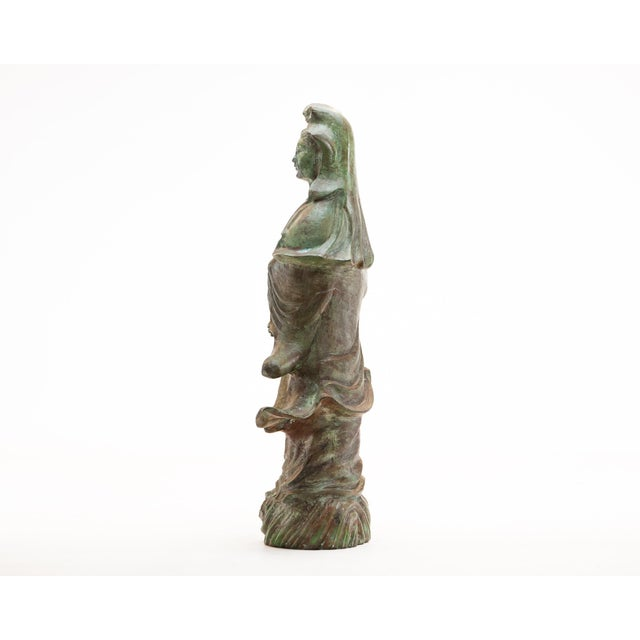 Lawrence & Scott Large Scale Verdigris Bronze Figure of Guan Yin Goddess of Mercy With Hand-Carved Hardwood Stand For Sale In Seattle - Image 6 of 10