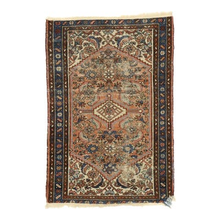 Distressed Antique Persian Hamadan Accent Rug - 02'06 X 03'07 For Sale