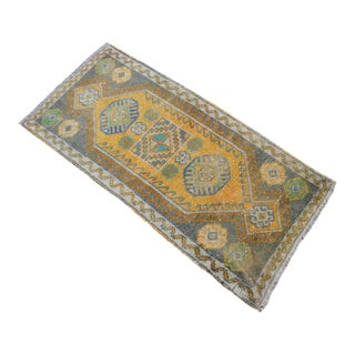 Distressed Low Pile Turkish Yastik Rug Faded Mat - 20'' X 41'' For Sale