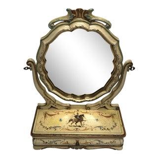 Vintage Italian Hand Painted Dresser Mirror For Sale