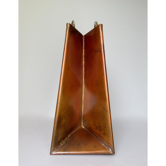 Vintage Hollywood Regency Copper & Brass Magazine Holder For Sale - Image 10 of 13