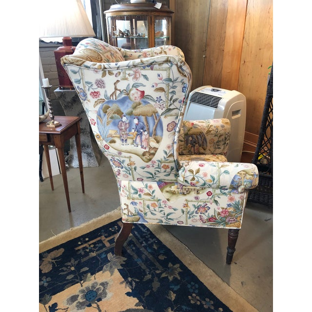 Antique English William IV Wingback Arm Chair with Chinoiserie Silk Upholstery. Upholstered in the early 21st century. The...