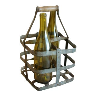 1930s French Zinc 4-Bottle Wine Carrier