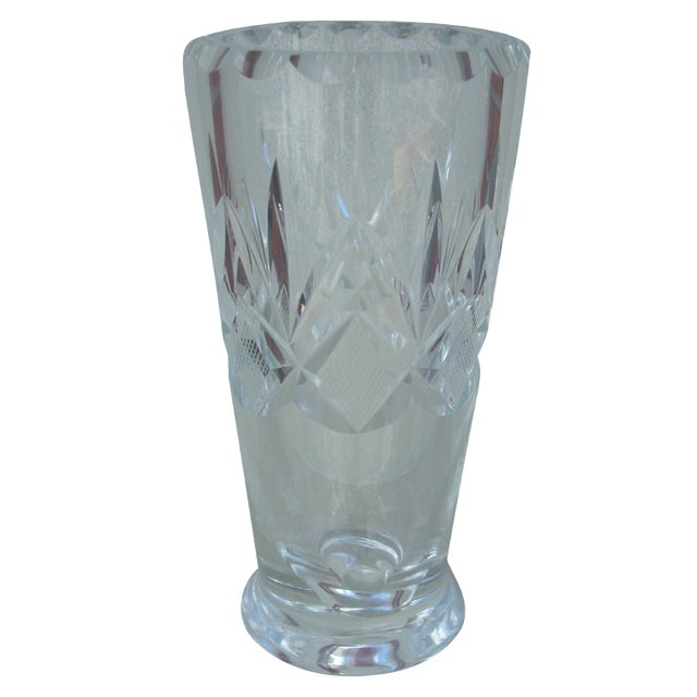 Orrefors Cut Clear Crystal Vase Chairish