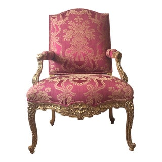 French Louis XV Style Fauteuil Chair - 1990s Vintage Sally Sirkin Lewis for J. Robert Scott For Sale