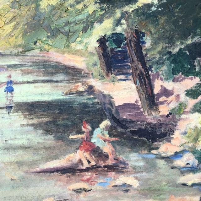 1980s M.Bickel Children Playing in Stream Landscape Painting For Sale - Image 9 of 13