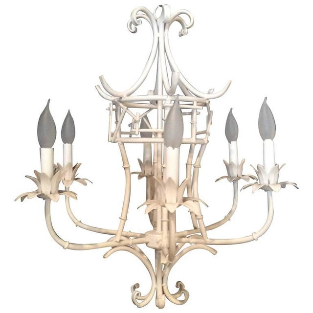 White Vintage Faux Bamboo Metal Pagoda Chandelier For Sale - Image 8 of 9