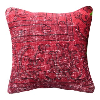 Red Turkish Rug Pillow For Sale