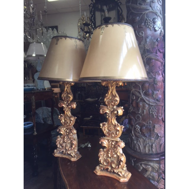 Pair of 18th Century Carved Giltwood Candles Converted to Lamps, Lamp Shade Included, Electrical is working condition ,