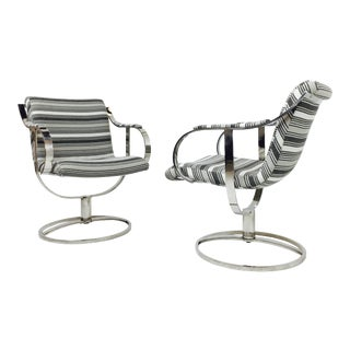 Steel Case Leather Swivel Chairs - a Pair For Sale