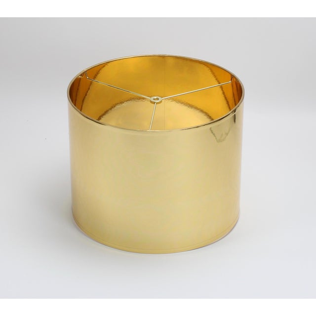 Not Yet Made - Made To Order Large Gold High Gloss Drum Lamp Shade For Sale - Image 5 of 6