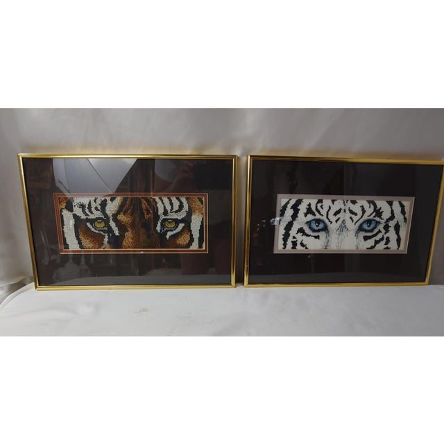 Hand Embroidered Bengal Tiger Eyes in Frames - a Pair For Sale - Image 4 of 4