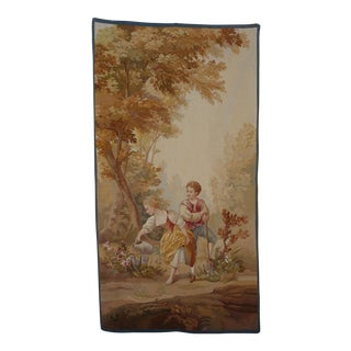 19th Century Antique Aubusson Tapestry of Young Couple For Sale