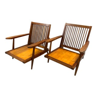 Vintage George Nakashima Spindle Back Lounge Chairs- A Pair For Sale