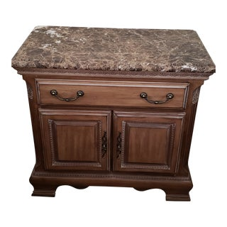 1990s Art Nouveau Lexington White Washed Marble Top Nightstand For Sale