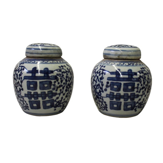 Pair Blue White Small Oriental Graphic Porcelain Ginger Jars - Image 1 of 5