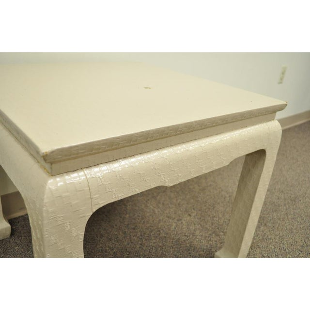 Vintage James Mont for Baker Asian Lacquered Grasscloth Occasional Side Accent Table - Image 6 of 11
