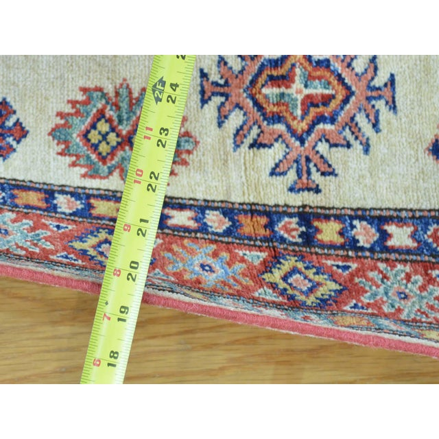 Islamic Kazak Ivory Hand Knotted Pure Wool Rug- 2′10″ × 10′ For Sale - Image 3 of 6