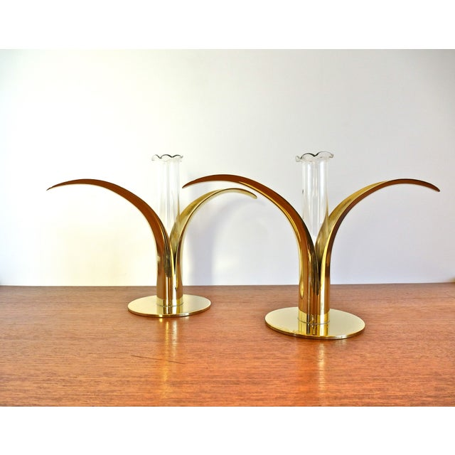 Ystad Metall Brass Lily Candle Holders/Vases - Image 2 of 8