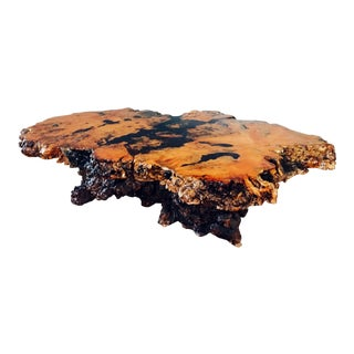 Mid Century Live Edge Stardust Burlwood Coffee Table For Sale