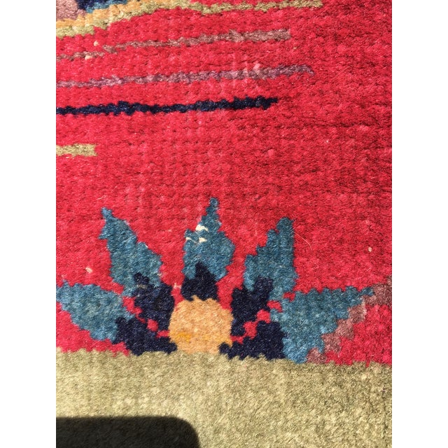 Chinese Art Deco Nichols Red and Green Rug - 2′11″ × 4′11″ For Sale - Image 4 of 12
