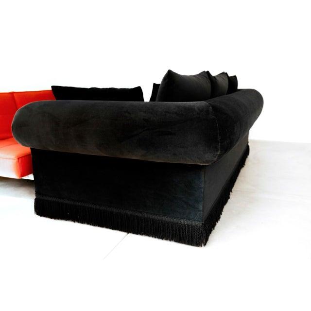 Black Velvet Roll Arm Sofa with Fringe For Sale - Image 4 of 5