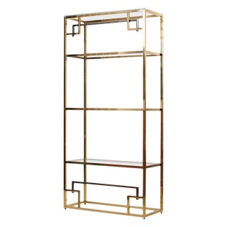 1 of 2 Brass and Gold-Plated Bookshelf or Étagère Attributed to Maison Jansen For Sale