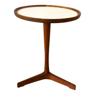 Hans Anderson Mid-Century Danish Teak Pedestal Accent Table For Sale