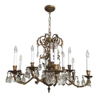 Vintage Bronze & Crystal Chandelier 12 Lights For Sale