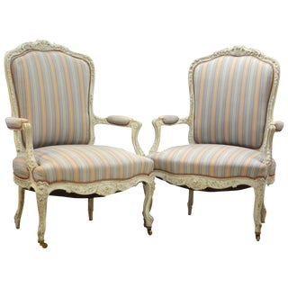 Pair of Charming Late 19th Century French Louis XV Style Painted Open Armchairs
