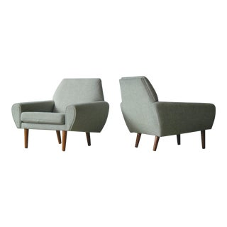 Danish Midcentury Pair of Kurt Ostervig Lounge Chairs in Teak Gray Wool, 1960s For Sale