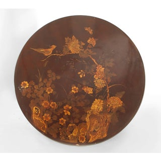 English Queen Anne Style Chinoiserie Rust Lacquer Floral Design Coffee Table Preview